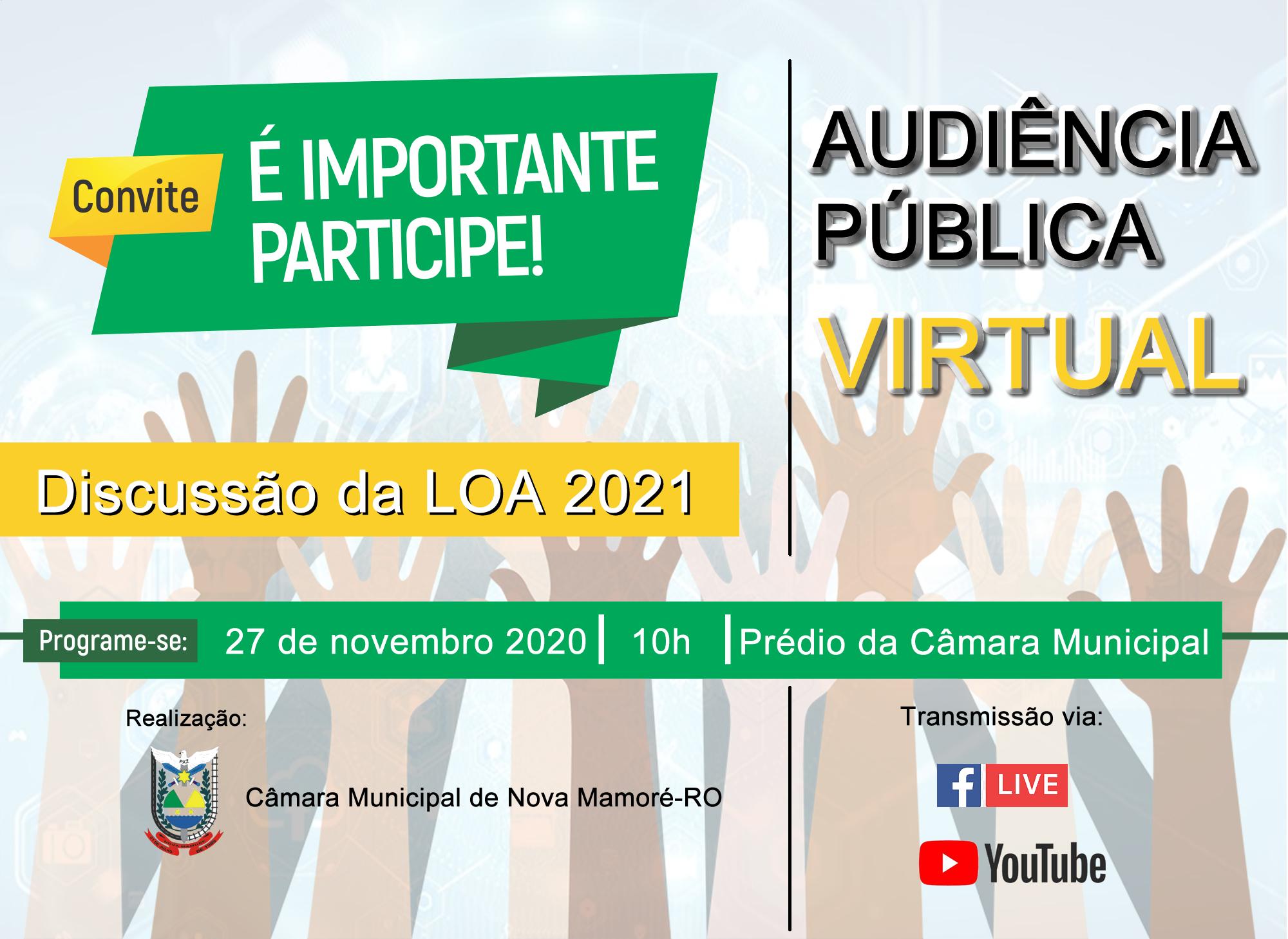 CONVITE DA AUDIÊNCIA PÚBLICA VIRTUAL PARA DISCUSSÃO DA LOA 2021