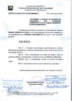 PRESIDENTE DA CÂMARA MUNICIPAL DE NOVA MAMORÉ DECRETA RECESSO DAS ATIVIDADES ADMINISTRATIVAS NO PERÍODO 22 JULHO A 02 DE AGOSTO DE 2019